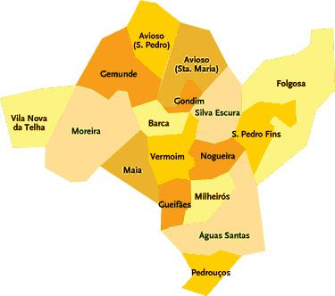 mapa freguesias maia Roteiro Turístico –